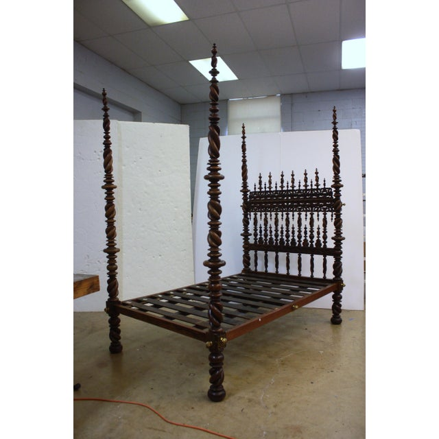 Islamic 17th Century Portuguese Carved and Turned Bed For Sale - Image 3 of 8