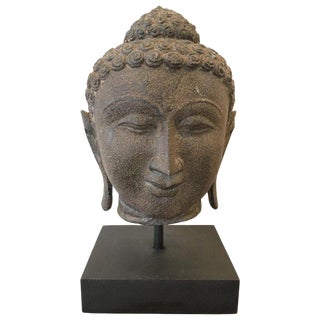 Late 19th Century Granite Buddha Head, Southeast Asia For Sale