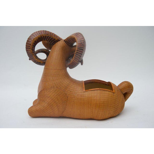 Country Vintage Mid-Century Handwoven Straw Ram Figure Box For Sale - Image 3 of 13