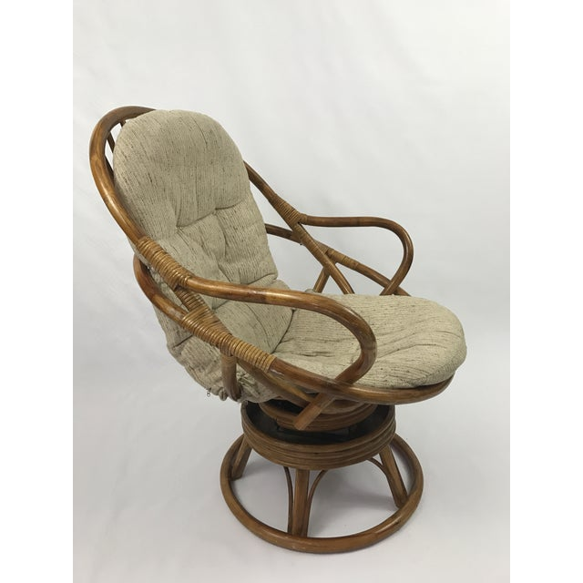 Prime Vintage Rattan Swivel Rocker Lounge Chair Pabps2019 Chair Design Images Pabps2019Com