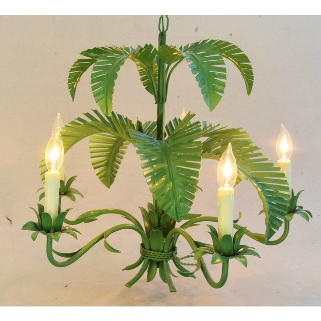 Vintage Five-Arm/Light Italian Palm Leaf Tropical Tole Chandelier For Sale - Image 4 of 11