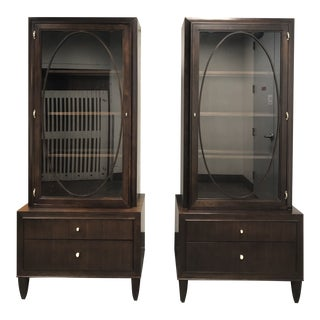 Contemporary Henredon Glass Cabinets - a Pair