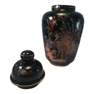 Italian Covered Jar Decorated With Peacocks & Flowers For Sale