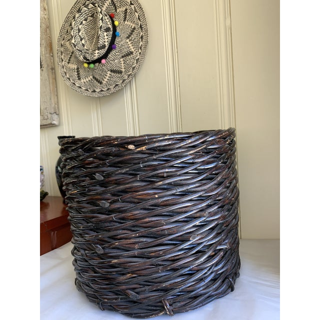 Large Rustic Earthy Wood Decor Storage Basket For Sale - Image 4 of 10