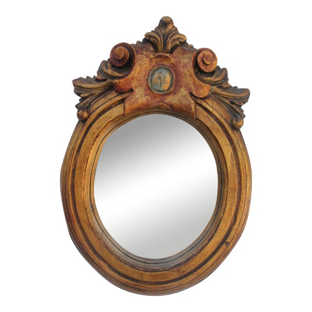 Antique Hand Carved Solid Wood Wall Mirror - Image 1 of 8