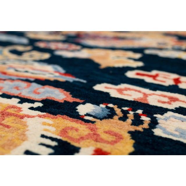 Indigo Blue, Red, Green, Orange Wool Tibetan Double Dragon Area Rug For Sale In New York - Image 6 of 8