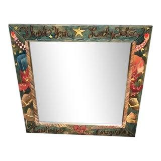 Folk Art Sticks Wall Mirror with Cowboy/Cowgirl Theme For Sale