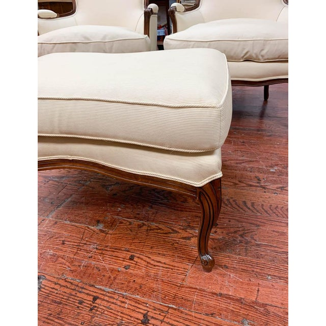 White Pair of French Arm Chairs With Bow Tie Ottoman For Sale - Image 8 of 10