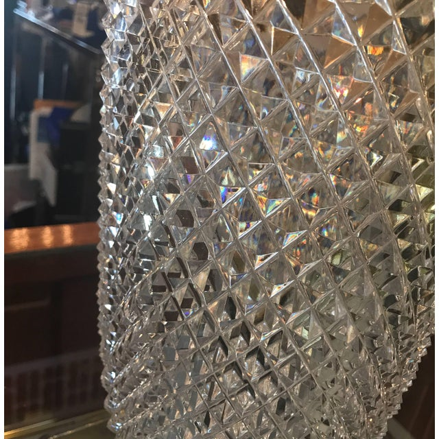 Crystal Late 19th Century Diamond Cut Crystal Vase For Sale - Image 7 of 11