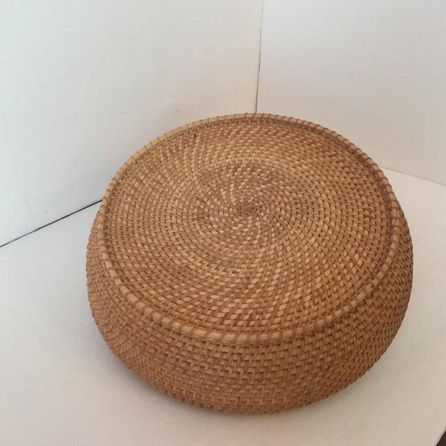 Natural Fiber Woven Basket & Lid For Sale - Image 7 of 11