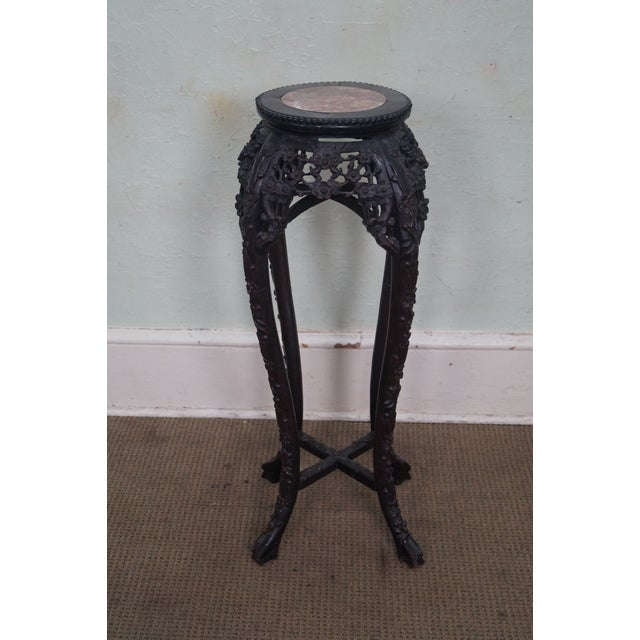 Vintage Chinese Carved Plant Stand - Image 4 of 10