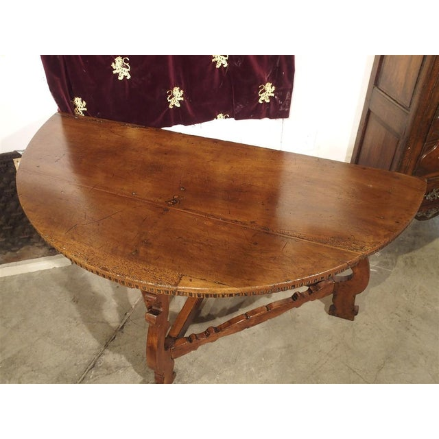 Brown 18th Century Italian Walnut Wood Demi Lune Console Table For Sale - Image 8 of 13