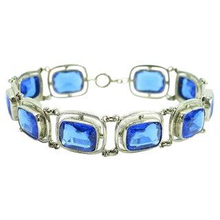 Art Deco Sterling & Sapphire Crystal Bracelet, 1930s For Sale