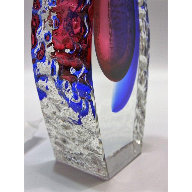 Italian Mandruzzato Murano Sommerso Glass Vintage Mid-Century Modern MCM Blue Red Vase Venetian - Image 7 of 11