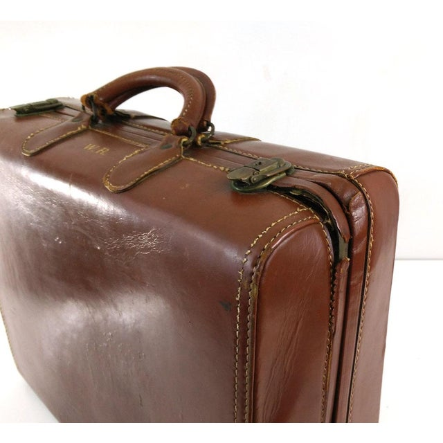 Vintage Brown Leather Suitcase - Image 5 of 6