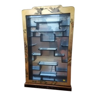 Vintage Asian Wall Mounted Curio Display Cabinet For Sale