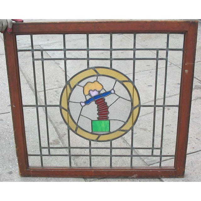Contemporary Late 20th Century Jack in the Box Stained Glass Window For Sale - Image 3 of 4