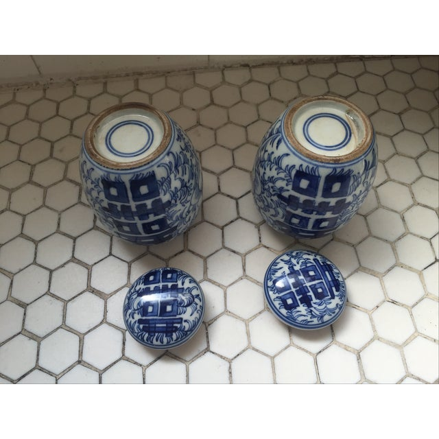 Double Happiness Blue Ginger Jars - a Pair - Image 3 of 8