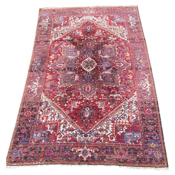 """Antique Persian Heriz Rug - 7'8"""" x 11'3"""" - Image 1 of 6"""