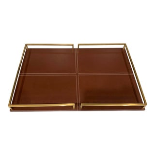 Interlude Contemporary Cognac Leather & Brass Tray For Sale