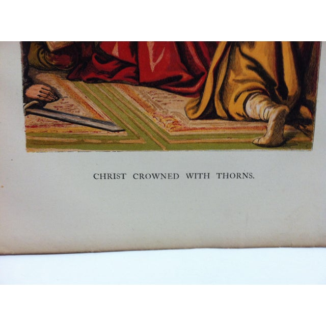 """Religious Late 19th Century Antique """"Christ Crowned With Thorns"""" Religious Print For Sale - Image 3 of 4"""
