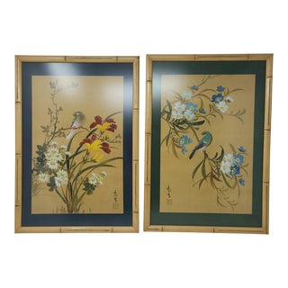 Vintage Chinoiserie Bamboo Framed Original Signed Watercolors Birds and Flowers a Set For Sale