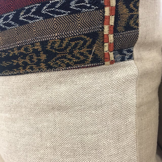 Vintage Indigo Cranberry Ikat Stripe Pillow - Image 4 of 6