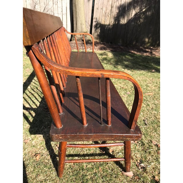Rustic C. 1880s Vintage Church Pew Bench For Sale - Image 3 of 4