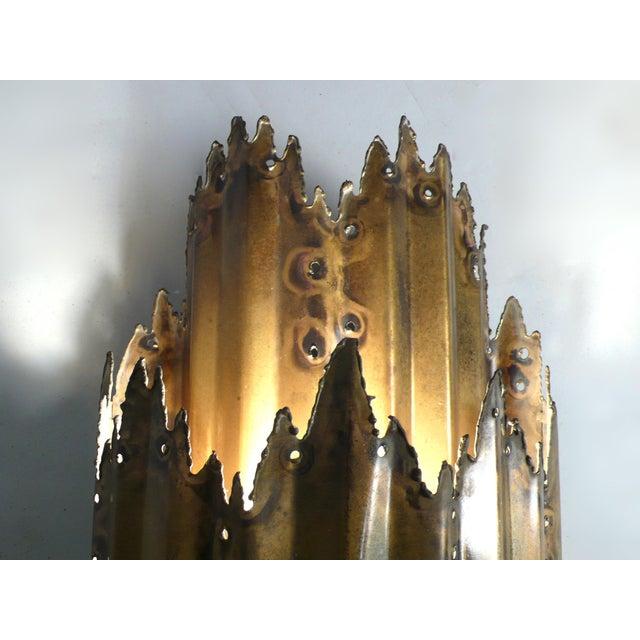 Distinguished Brutalist Plasma Torch Cut Brass Wall Sconce