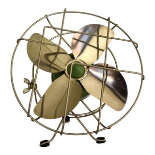 1940s Wonder Airmaker Green Table Electric Fan For Sale