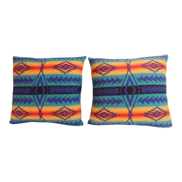 Pair of Vintage Pendleton Southwest Style Large Decorative Pillows For Sale