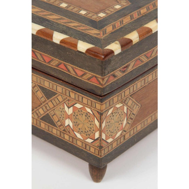 Spanish Inlaid Marquetry Jewelry Music Box For Sale - Image 4 of 10