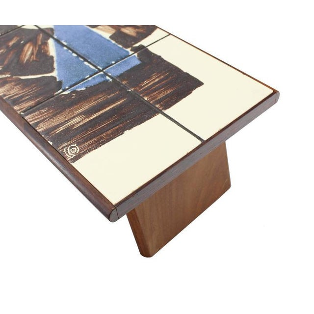 Mid-Century Modern Rosewood and Tile Top Folding Legs Serving Tray For Sale - Image 6 of 11