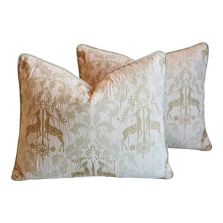 """Midcentury French Embroidered Gazelle Feather/Down Pillows 24"""" X 19"""" - Pair For Sale"""