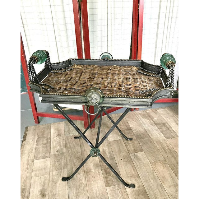 Neiman Marcus Folding Metal & Rattan Tray Table For Sale - Image 6 of 6