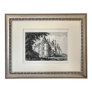 Antique 19th Century Etching French Chateau Chambord by Lancelot For Sale
