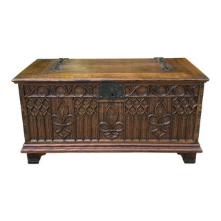 Antique French Gothic Oak Coffer Chest Blanket For Sale
