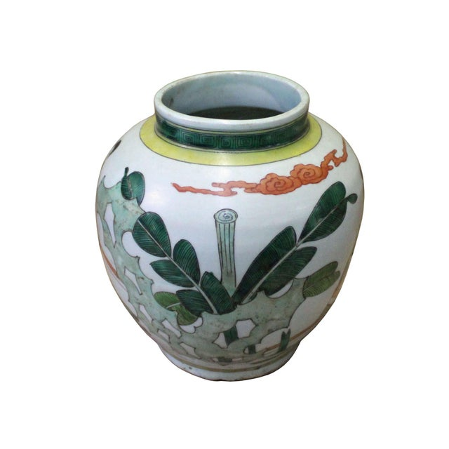 Chinese Chinese Oriental People Scenery Graphic Ceramic Vase For Sale - Image 3 of 8