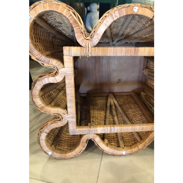 Vintage Palm Beach Tropical Trompe l'Oeil Wicker Draped Coffee Table For Sale - Image 11 of 13