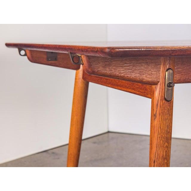 Gold Hans J. Wegner JH570 Exapandable Teak Dining Table for Johannes Hansen For Sale - Image 8 of 11