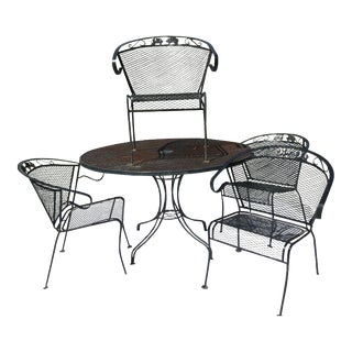 20th Century Russell Woodard Wrought Iron Dining Patio Set - 5 Pieces For Sale