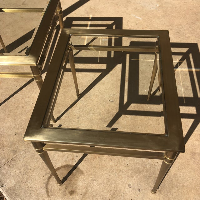 Hollywood Regency Glass Top Brass End Tables - a Pair For Sale - Image 3 of 13
