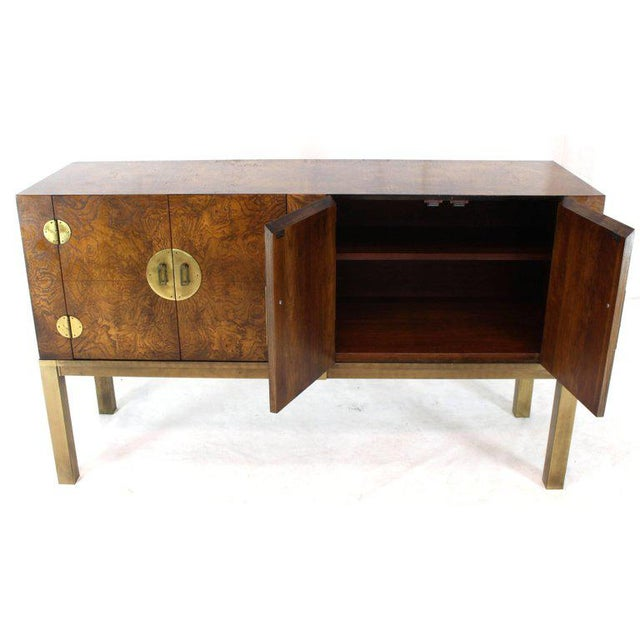 Burl Wood and Solid Brass Hardware Compact Double Doors Credenza For Sale - Image 4 of 11