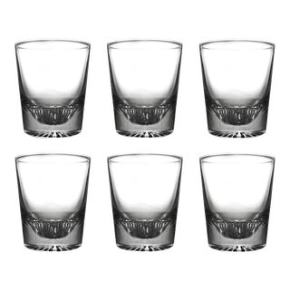Vintage Cut Glass Heavy Lowball Cocktail Whisky Glasses - Set of 6 For Sale