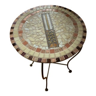 Mosaic Tiled Frank Lloyd Wright Steel Legged Side Table For Sale