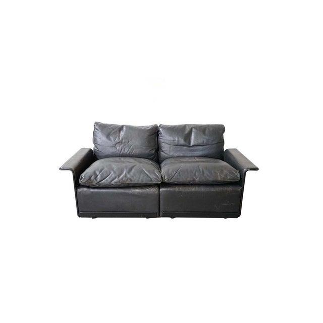 Black Vintage Black Leather Sofa by German Designer Dieter Rams For Sale - Image 8 of 8