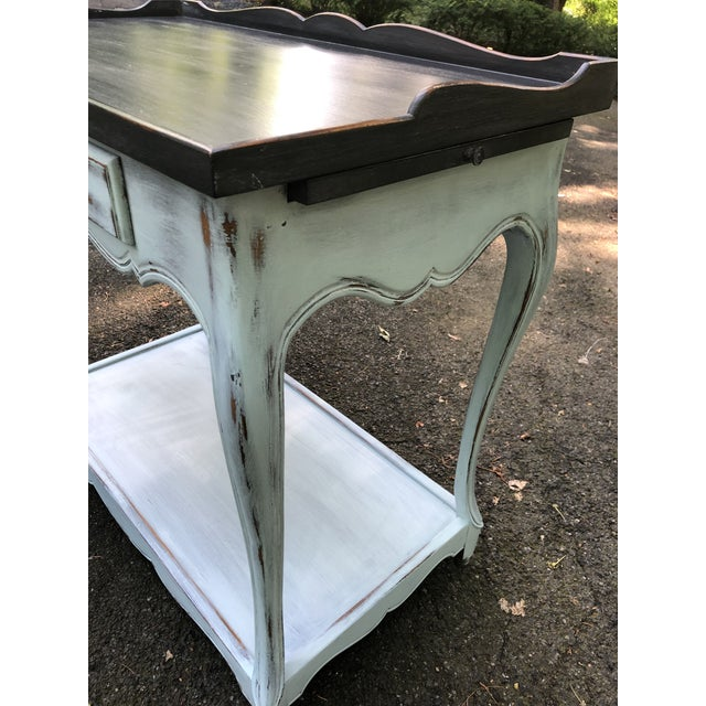 Perfect size French Provincial serving table. Beautifully finished in charcoal and pale blue. The custom finish has been...