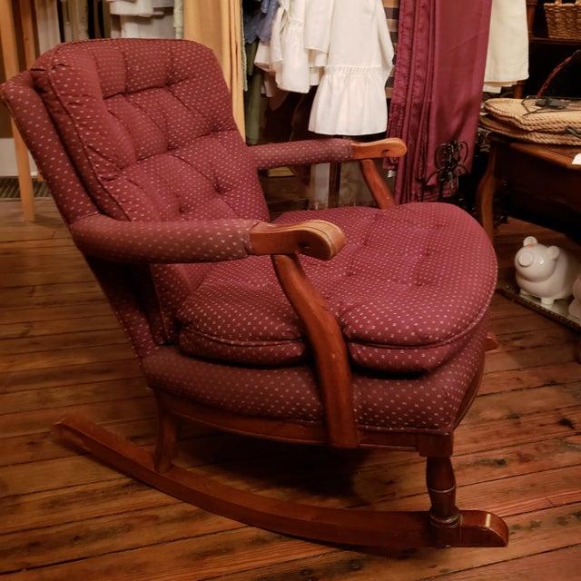 Textile 1960s Vintage Sam Moore Upholstered Rocking Chair For Sale - Image 7 of 10
