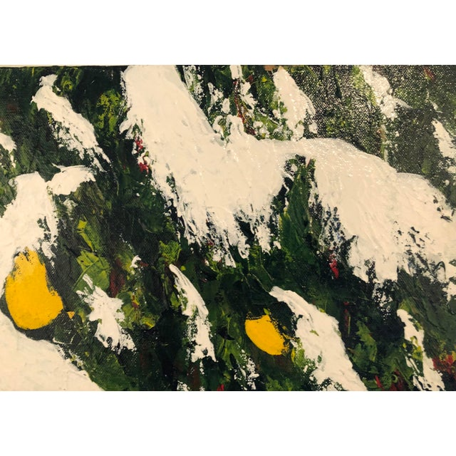 Meyer Lemons in the Snow Acrylic on Stretched Canvas Signed by Artist Framed Green Yellow White For Sale - Image 9 of 11