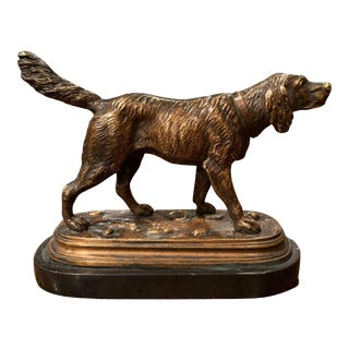 19th Century French Bronze Hunt Dog Sculpture on Marble Base After Jules Moiniez For Sale